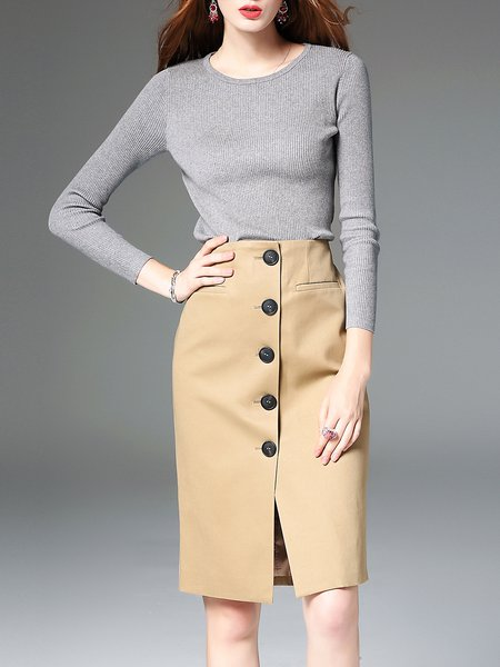 Khaki Bodycon Cotton-blend Work Plain Midi Skirt