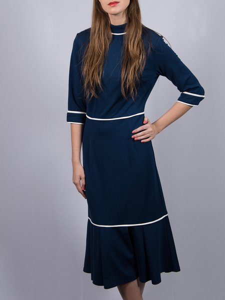3/4 Sleeve Casual Stand Collar Flounce Midi Dress
