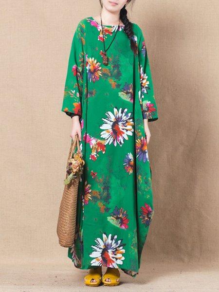Casual Cocoon Floral Linen Linen Dress