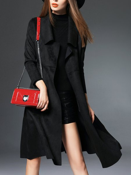 Buttoned Long Sleeve Basic A-line Shawl Collar Coat