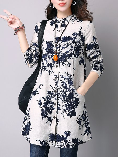 Printed H-line Stand Collar Long Sleeve Casual Blouse