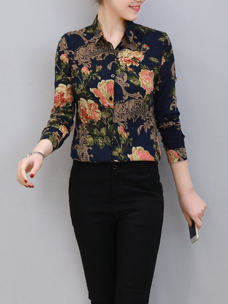 Multicolor Shirt Collar Printed Floral Long Sleeve Blouse