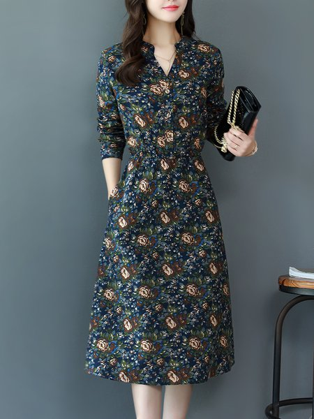 Long Sleeve Cotton-blend A-line Casual Printed Midi Dress
