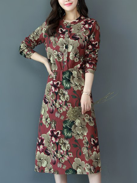 Stand Collar Long Sleeve Casual Cotton-blend Midi Dress