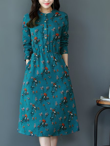 Long Sleeve Printed Casual Stand Collar A-line Midi Dress