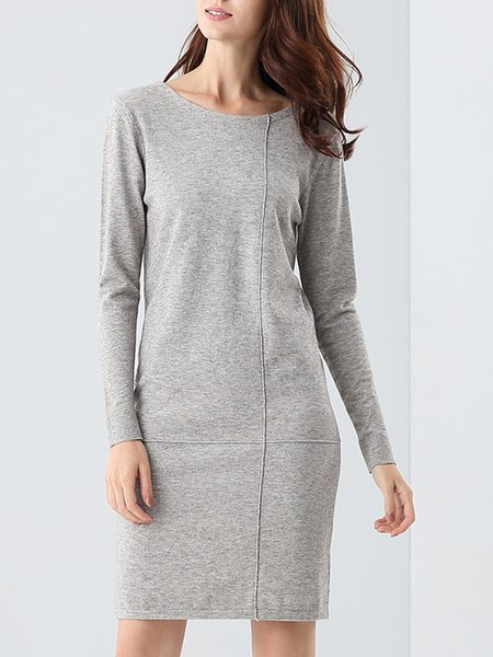 Long Sleeve Jersey Casual H-line Midi Dress