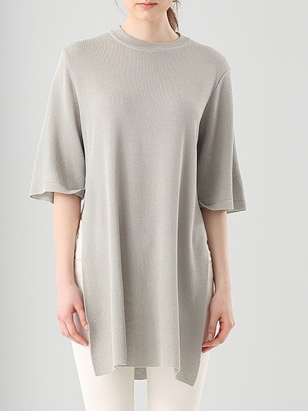 Slit Casual Cotton Solid Sweater