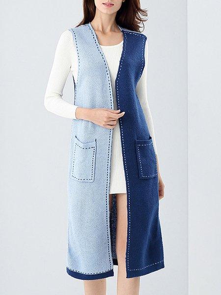 Sleeveless Color-block Cardigan