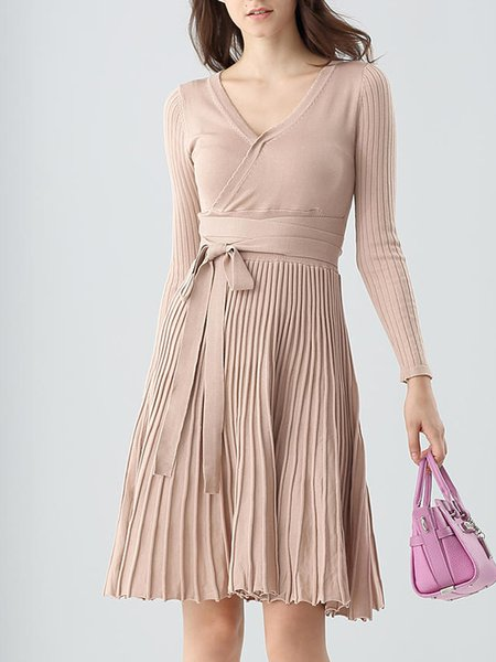 Apricot Cotton Long Sleeve Surplice Neck A-line Midi Dress
