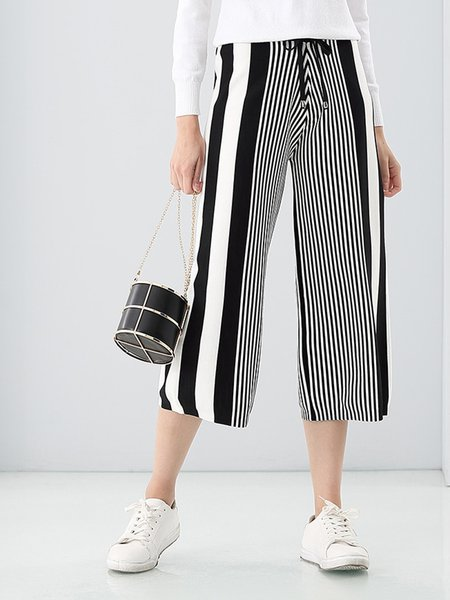 Black-white Stripes Blend Knitted Casual Cropped Pants