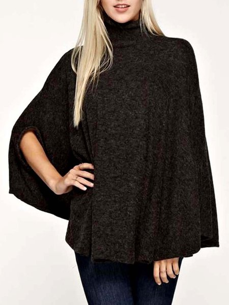 Casual Half Sleeve Turtle Neck Poncho And Cape