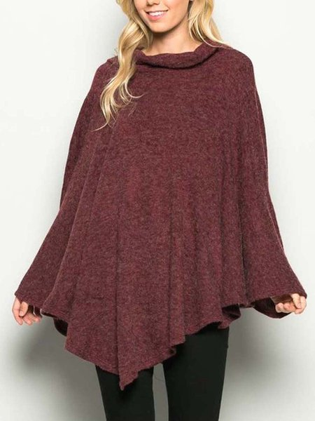 Burgundy Cowl Neck Cape Sleeve Poncho And Cape