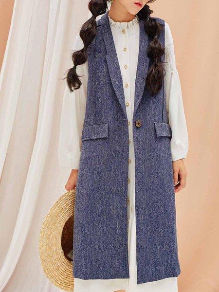 Blue Lapel Casual Vest