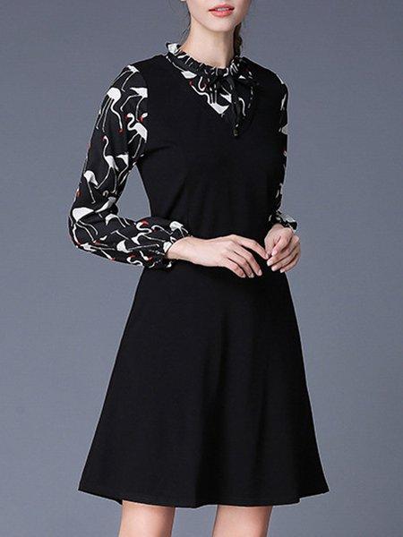 Cotton-blend Long Sleeve Casual Paneled Midi Dress