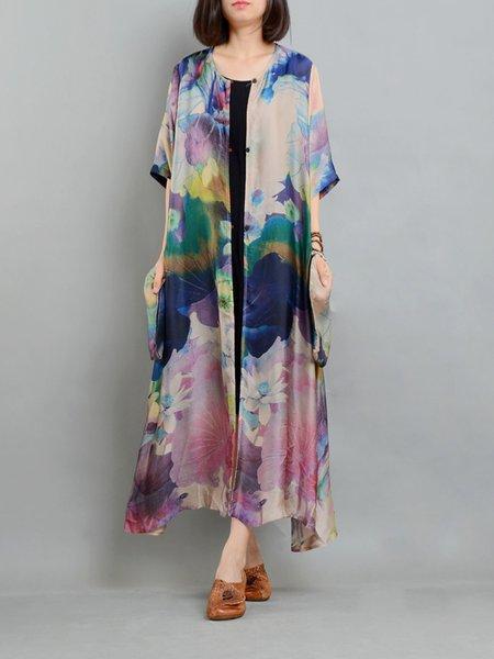 H-line Slit Floral Casual Linen Outerwear