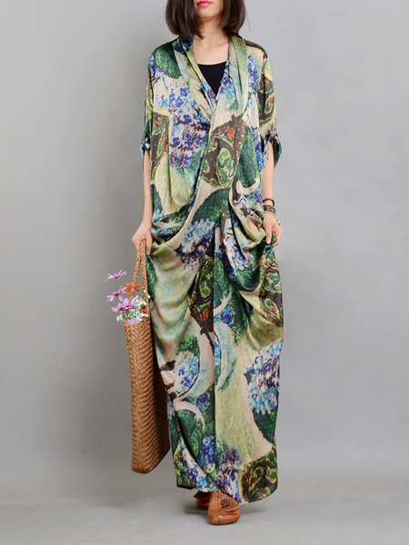 Casual Shorts Sleeve Silk Printed/Dyed Dress