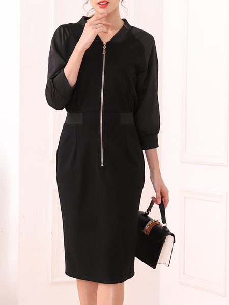 Solid 3/4 Sleeve Midi Dress