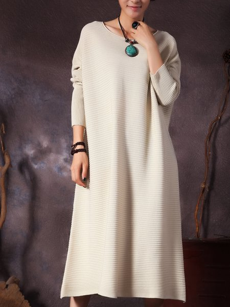 Casual Knitted Crew Neck Solid Dress