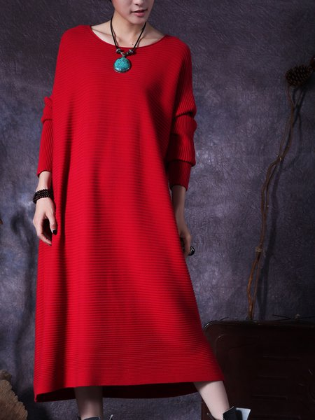 Knitted Shift Solid Casual Linen Dress
