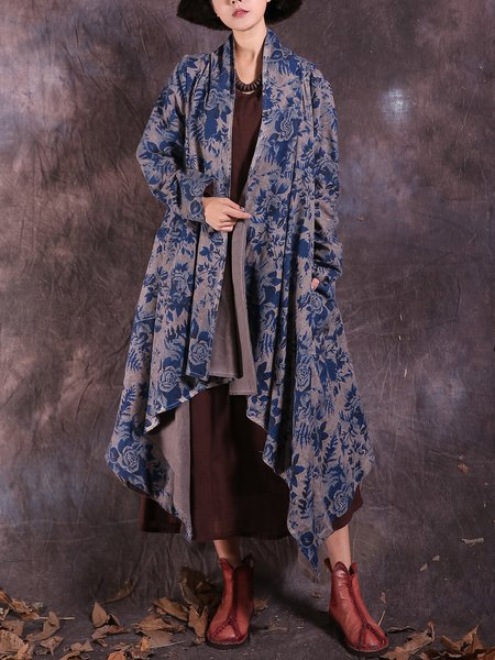 Long Sleeve Casual Floral Linen Outerwear