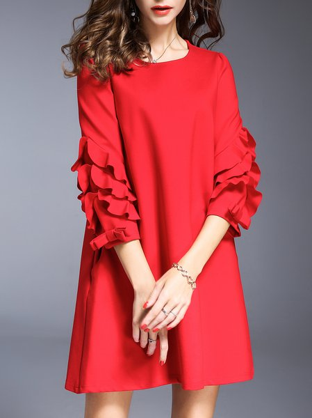 Red Mini Dress A-line Daily Frill Sleeve Solid Dress