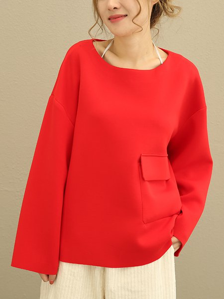 Red Long Sleeve Pockets Linen Top
