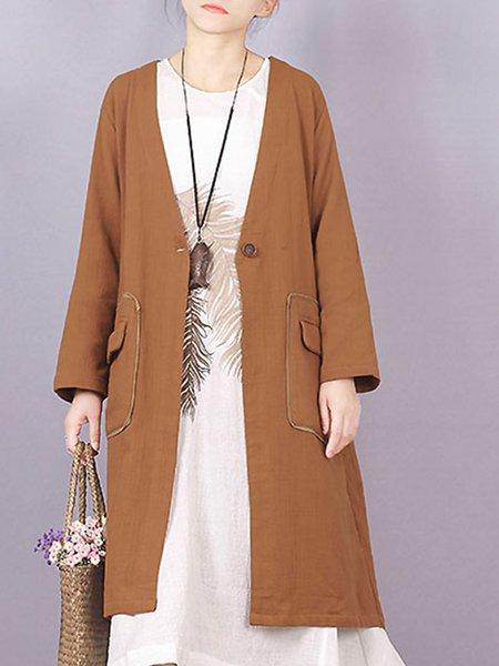 Casual Linen Long Sleeve Solid Pockets Linen Outerwear