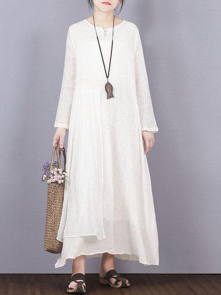 Long Sleeve Solid Asymmetrical Casual Linen Dress