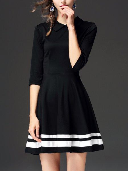 Black Shirt Collar A-line Half Sleeve Mini Dress