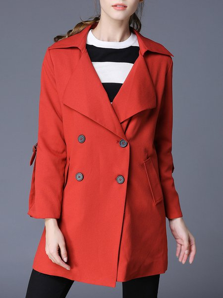 Red Long Sleeve Lapel Shift Trench Coat