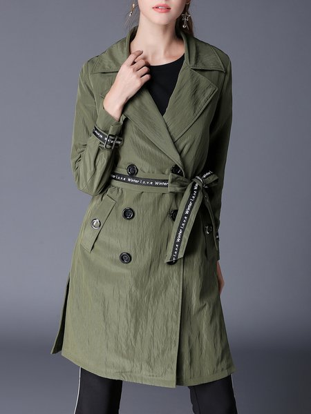 Casual Lapel Shift Long Sleeve Slit Trench Coat