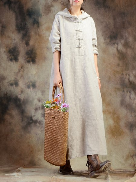 Linen Solid Long Sleeve H-line Linen Dress