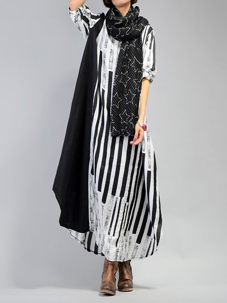 Half Sleeve Abstract Turtleneck Casual Linen Dress