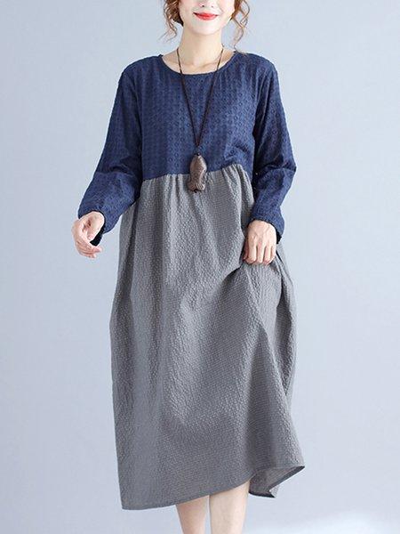 Blue Cotton-blend Shift Crew Neck Long Sleeve Linen Dress