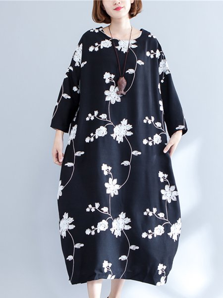Black Casual Cocoon Cotton-blend Linen Dress