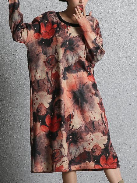 Printed/Dyed Casual Crew Neck Dress