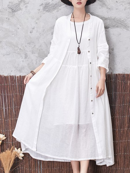 Folds H-line Solid Casual Linen Dress