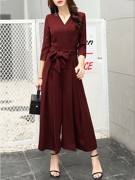 Surplice Neck Bow 3/4 Sleeve Jumpsuit WIth Belt