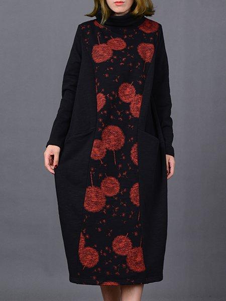Casual Turtleneck Paneled Linen Dress