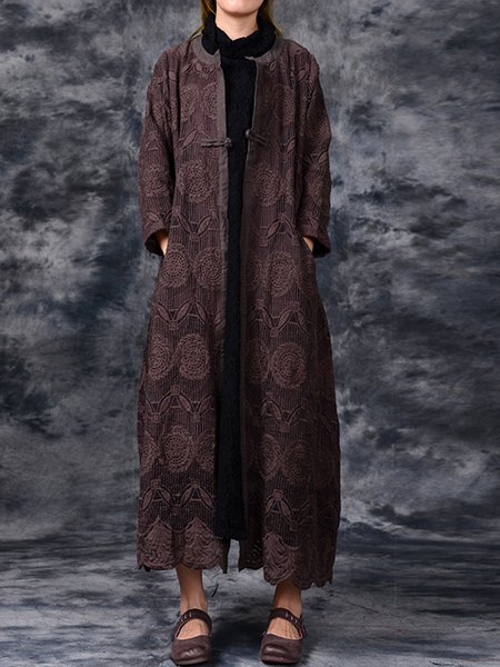 Coffee Embroidered Long Sleeve Shift Linen Outerwear