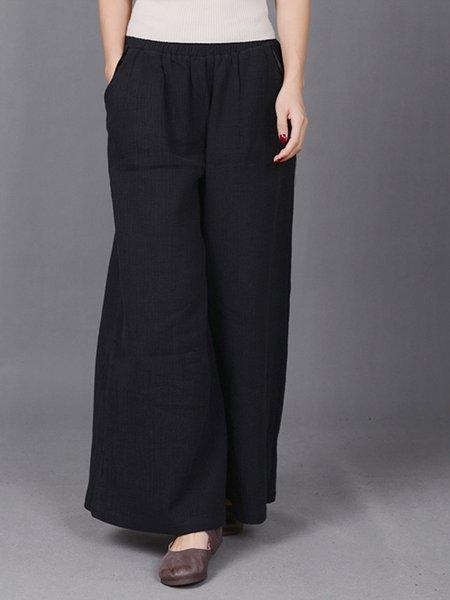 Black Linen Casual Linen Bottom