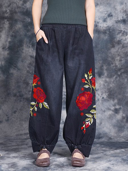 Casual Denim Floral Embroidered Pants