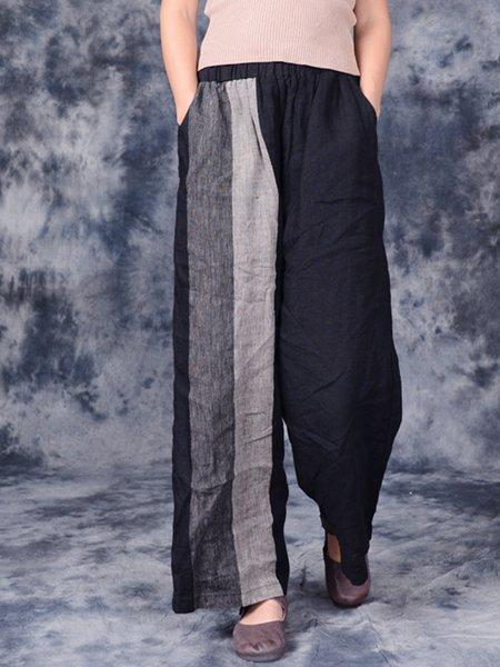 Black Linen Color-block Casual Linen Bottom