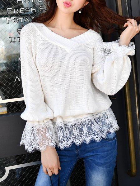 White Long Sleeve V Neck Paneled Sweater