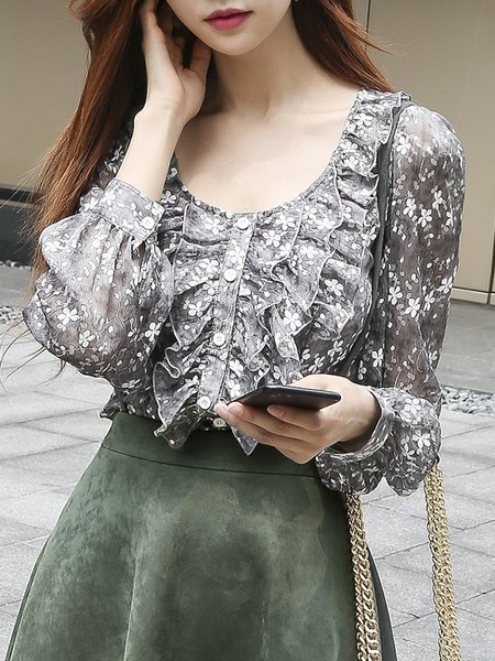 Gray Ruffled Floral Girly Tops