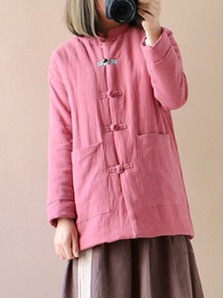 Solid Casual Linen Outerwear