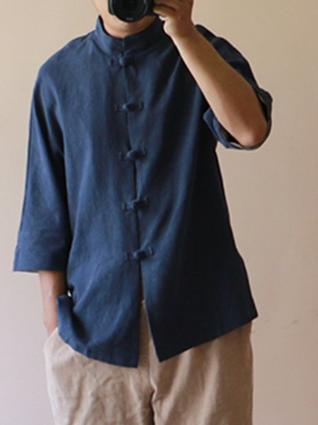 Shift Casual 3/4 Sleeve Solid Linen Top