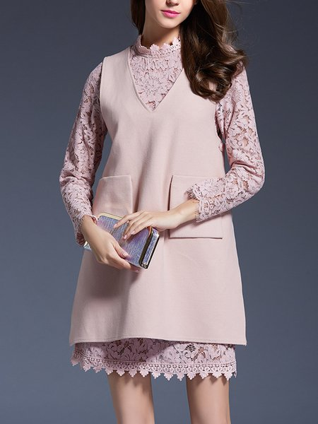 Stand Collar Sweet Long Sleeve Guipure Lace Dress With Top