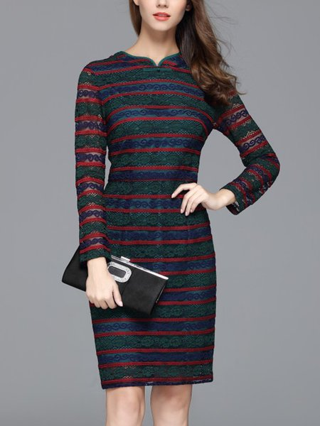 See-through Look Elegant Long Sleeve Midi Dress