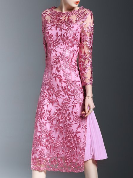 Pink See-through Look A-line 3/4 Sleeve Party Dress